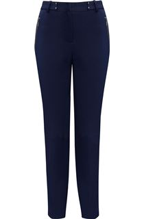Narrow Leg Zip Trousers - Navy