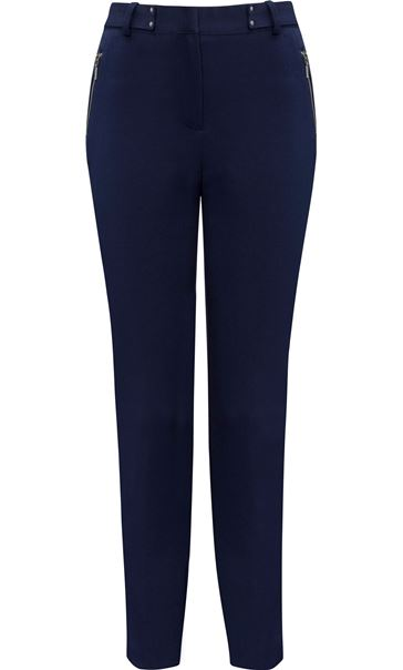 Narrow Leg Zip Trousers Navy