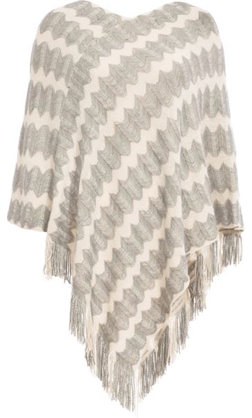 Tassel Trim Knit Poncho Cream/Grey