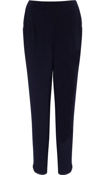 Embellished Tapered Pull On Trousers Midnight