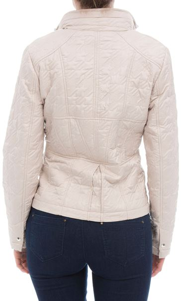 Quilted  Zip Short Coat Ivory - Gallery Image 2