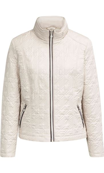 Quilted  Zip Short Coat Ivory - Gallery Image 3