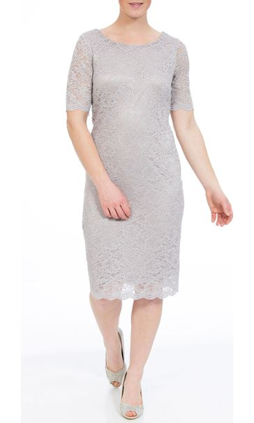 Anna Rose Short Sleeve Fitted Midi Dress Silver