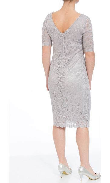 Anna Rose Short Sleeve Fitted Midi Dress SILVER - Gallery Image 2