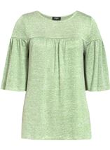 Fluted Three Quarter Sleeve Lightweight Knit Top Green Marl - Gallery Image 1