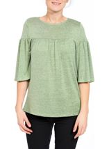Fluted Three Quarter Sleeve Lightweight Knit Top Green Marl - Gallery Image 2