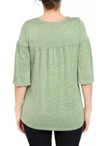 Fluted Three Quarter Sleeve Lightweight Knit Top Green Marl - Gallery Image 3