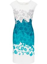 Anna Rose Placement Print Ottoman Midi Dress Ivory/Teal - Gallery Image 1