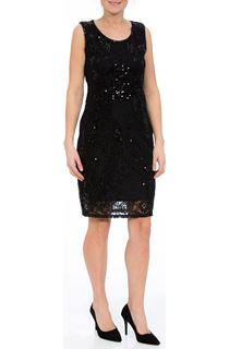 Sleeveless Embellished Lace Midi Dress