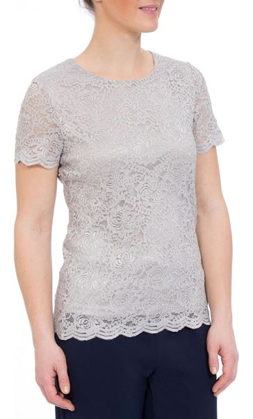 Anna Rose Short Sleeve Lace Top Silver