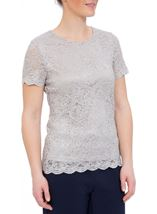 Anna Rose Short Sleeve Lace Top Silver - Gallery Image 1