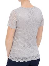 Anna Rose Short Sleeve Lace Top Silver - Gallery Image 2