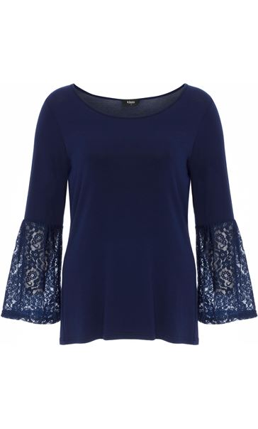 Lace Bell Sleeve Jersey Top Navy