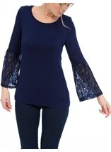 Lace Bell Sleeve Jersey Top Navy - Gallery Image 2