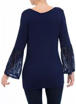Lace Bell Sleeve Jersey Top Navy - Gallery Image 3