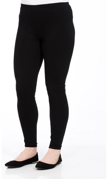 Full Length Jersey Leggings Black - Gallery Image 2