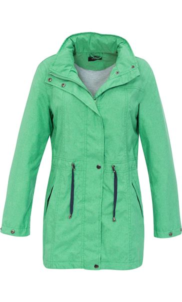 Linen Look Waterproof Lightweight Coat Green