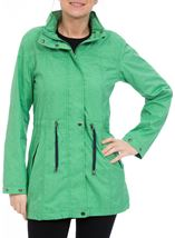 Linen Look Waterproof Lightweight Coat Green - Gallery Image 2