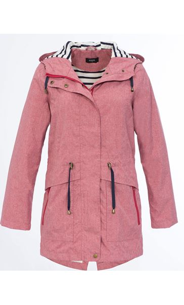 Linen Look Waterproof Lightweight Coat Red