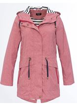 Linen Look Waterproof Lightweight Coat Red - Gallery Image 1