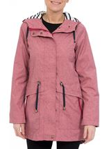 Linen Look Waterproof Lightweight Coat Red - Gallery Image 2