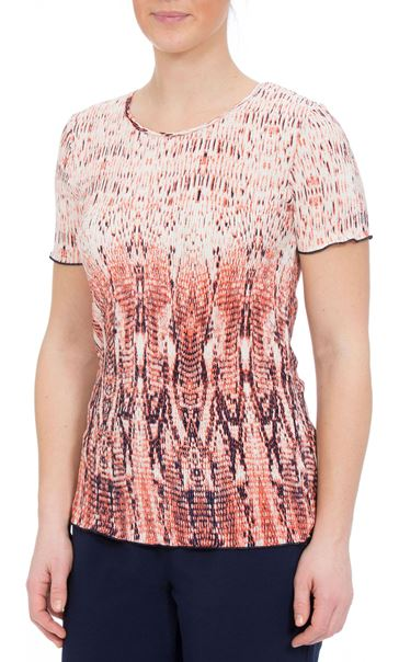 Anna Rose Short Sleeve Pleated Print Top Orange/Navy