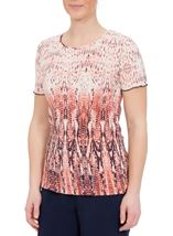 Anna Rose Short Sleeve Pleated Print Top Orange/Navy - Gallery Image 1