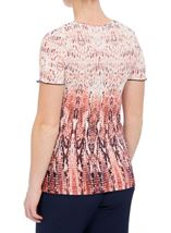 Anna Rose Short Sleeve Pleated Print Top Orange/Navy - Gallery Image 2