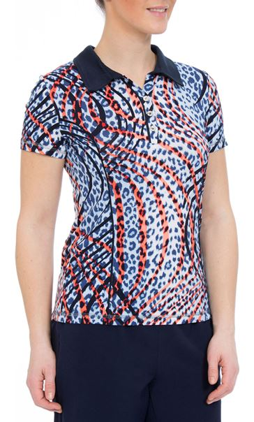 Anna Rose Short Sleeve Animal Print Jersey Top Navy/Orange - Gallery Image 2