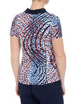Anna Rose Short Sleeve Animal Print Jersey Top Navy/Orange - Gallery Image 3