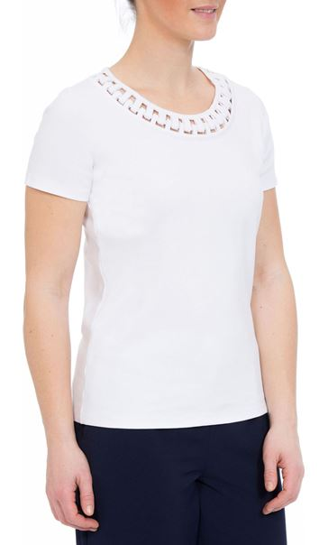 Anna Rose Short Sleeve Jersey Top White