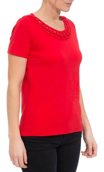 Anna Rose Short Sleeve Jersey Top Red