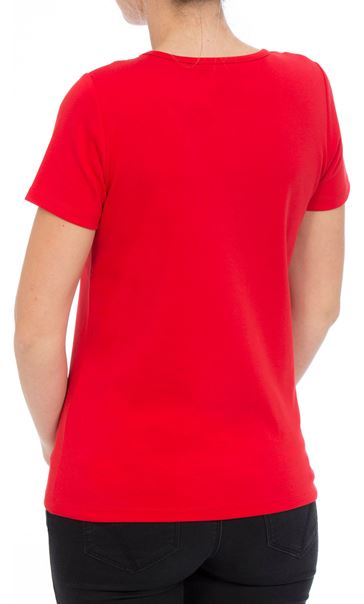Anna Rose Short Sleeve Jersey Top Red - Gallery Image 2