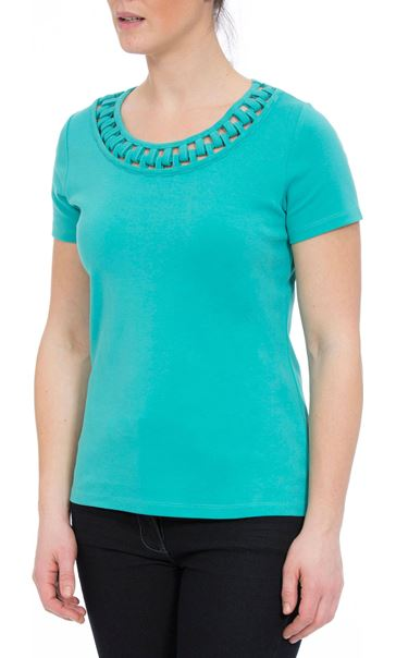 Anna Rose Short Sleeve Jersey Top Ocean - Gallery Image 1