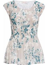 Anna Rose Chiffon Pleat Top Silver/Teal - Gallery Image 1