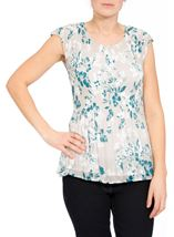 Anna Rose Chiffon Pleat Top Silver/Teal - Gallery Image 2