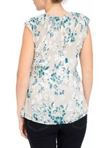 Anna Rose Chiffon Pleat Top Silver/Teal - Gallery Image 3