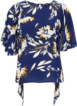 Short Sleeve Floral Drape Chiffon Top Blue - Gallery Image 1