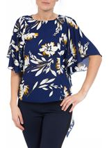 Short Sleeve Floral Drape Chiffon Top Blue - Gallery Image 2