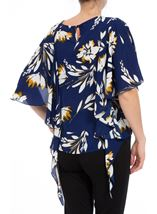 Short Sleeve Floral Drape Chiffon Top Blue - Gallery Image 3