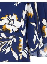 Short Sleeve Floral Drape Chiffon Top Blue - Gallery Image 4