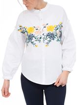 Embroidered Drop Shoulder Cotton Blouse White/Multi - Gallery Image 2