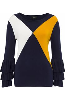 Long Layered Sleeve Colour Block Knit Top