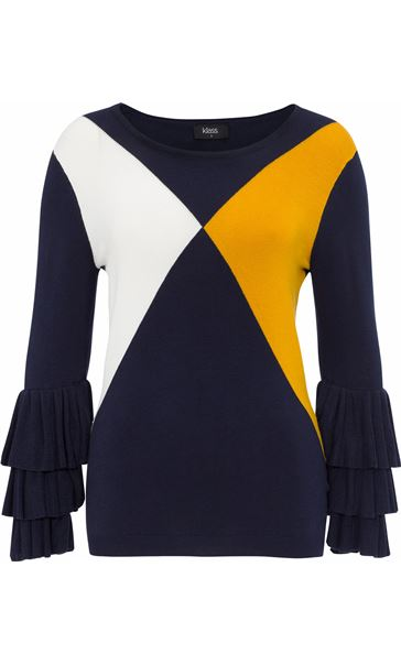Long Layered Sleeve Colour Block Knit Top Navy/White/ Mustard