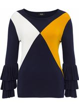Long Layered Sleeve Colour Block Knit Top Navy/White/ Mustard - Gallery Image 1