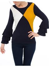 Long Layered Sleeve Colour Block Knit Top Navy/White/ Mustard - Gallery Image 2