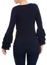 Long Layered Sleeve Colour Block Knit Top Navy/White/ Mustard - Gallery Image 3