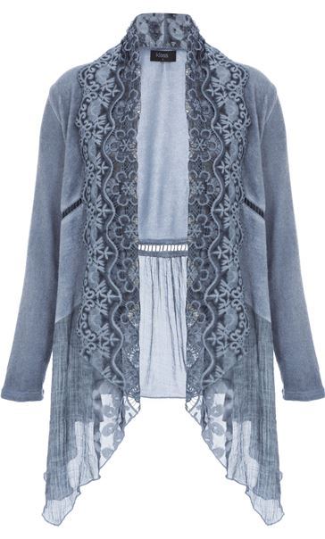 Long Sleeve Lace Trim Knit Cardigan Lt Denim