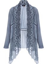 Long Sleeve Lace Trim Knit Cardigan Lt Denim - Gallery Image 1