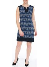 Printed Sleeveless Stretch Midi Dress Navy/White - Gallery Image 1